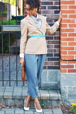 tan thrifted vintage blazer - heather gray thrifted pants - turquoise blue thrif