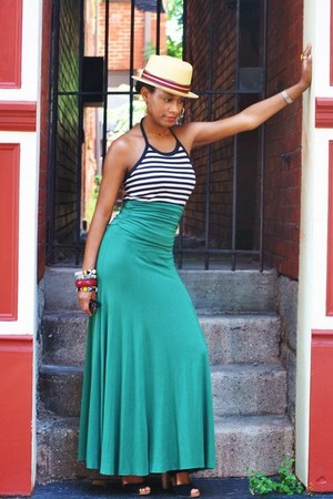 Forever21 skirt - hats in the belfry hat - Kookai top - seychelles sandals
