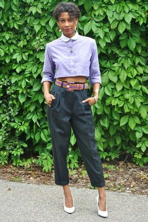 white vintage shoes - light purple DIY shirt - gray thrifted pants - deep purple