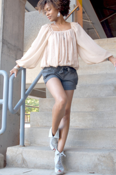 H&amp;M blouse - Jeffrey Campbell shoes - Forever21 shorts