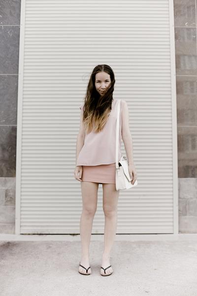light pink vintage top - white from Korea bag - light pink from Korea skirt