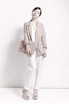 white no name top - neutral H&M blazer - neutral from Korea bag