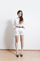 white from Korea shirt - white denim vintage shorts - olive green H&M wedges