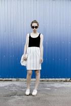 white from Korea bag - black from Korea sunglasses - white vintage skirt