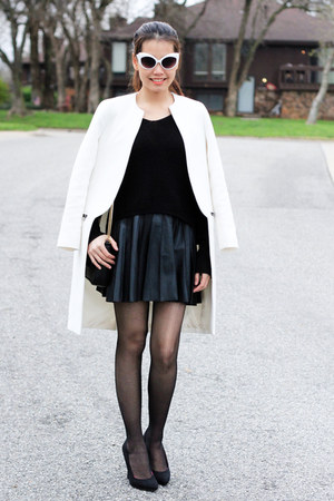 black Zara sweater - white Zara coat - black Zara bag - olsenboye sunglasses