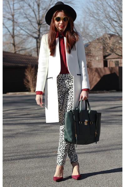 white white Zara coat - black gold chain Zara hat
