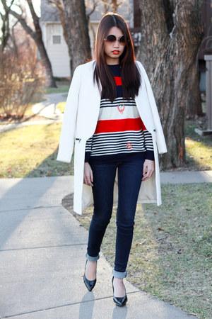 vintage sweater - white Zara coat - navy Zara jeans