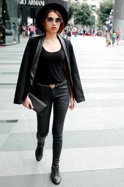 Zara hat - Topshop jeans - blazer - Zara belt