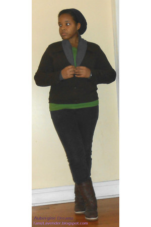black jeans - dark brown jacket - green t-shirt - heather gray cardigan