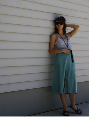 turquoise blue vintage skirt - heather gray BDG top