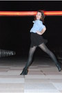 Black-h-m-dress-blue-gap-shirt-black-target-tights