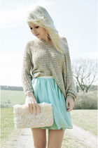 light blue Primark skirt - cream Mango sweater - ivory Primark purse