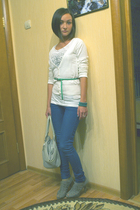 H&M t-shirt - H&M top - H&M belt - bracelet - Bershka jeans - Zara shoes