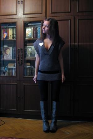 Zara boots - Zara leggings - Promod vest - noname belt - accessories - Pur Pur b