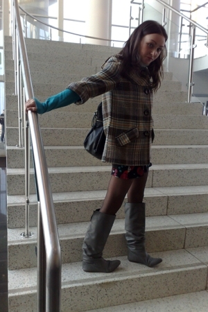 Zara coat - Zara boots - Promod dress - H&M shirt