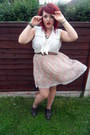 Primark-shoes-light-pink-topshop-dress-brown-primark-belt-white-h-m-blouse