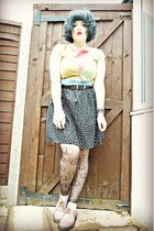 black new look belt - neutral Dr Martens shoes - nude peace asos tights