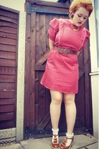 ruby red pinstripe vintage dress - brown ruffles asos shoes