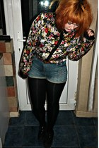 black floral new look shirt - black creepers new look shoes