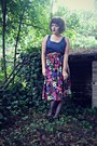 Purple-floral-midi-gift-skirt-navy-satin-vest-top-vintage-vest