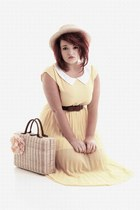 picnic Primark bag - brown Newlook shoes - yellow yellow TK Maxx dress