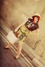 Vintage-skirt-newlook-shoes-newlook-hat-primark-bag-topshop-top