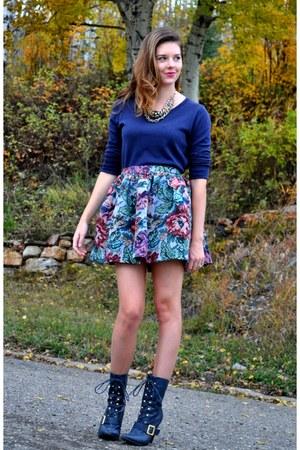 navy  boots - navy Gap sweater - light blue Tasha Delrae Boutique skirt