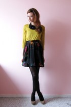 black neon flowers H&M dress - mustard Monki shirt - tan suede Primark heels