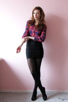 red plaid H&M blouse - black lace H&M skirt - black H&M cardigan