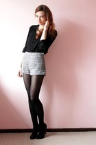 charcoal gray H&M shorts - black pirate Zara blouse