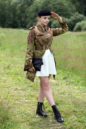 black Bata boots - white handmade dress - olive green jean paul gaultier coat