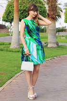 green AX Paris dress - white asos heels
