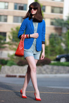Aqua blazer - tory burch bag - Gucci sunglasses - Miu Miu pumps