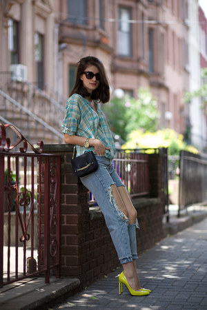 Urban Outfitters jeans - Anthropologie shirt - Jimmy Choo bag - Gucci heels