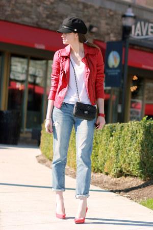 Guess jacket - J Brand jeans - calvin klein hat - Miu Miu pumps
