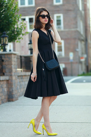 Gucci bag - Anthropologie dress - Gucci heels