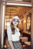hat - sunglasses - blouse - skirt
