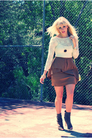 white Nasty Gal top - brown Zara skirt - gray Dolce Vita shoes - gold H&M access