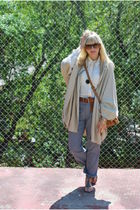 gray Uniqlo pants - gold sam endelman shoes - beige capeponcho H&M sweater