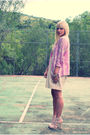 Purple-vintage-jacket-pink-h-m-dress-pink-h-m-shoes