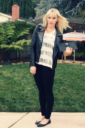 black Urban Outfitters jacket - white young fabulous &amp; broke t-shirt - black joe