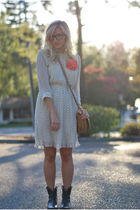 black thifted boots - white H&M dress