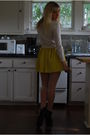 Yellow-forever-21-skirt-beige-silence-and-noise-top-white-american-apparel-t