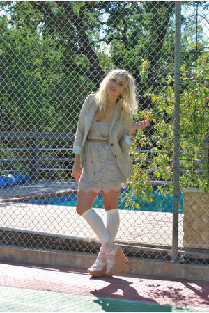 beige J Crew blazer - purple Nasty Gal dress - white American Apparel socks - pi