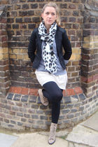 beige new look boots - black Topshop blazer - green H&M dress - white H&M scarf