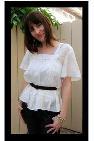 vintage from Subculture Vintage blouse - vintage belt - Hudson jeans
