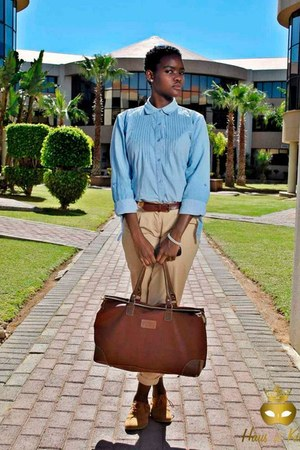 leather bag - oxford shoes - denim shirt - beige pants