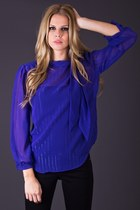 Vintage Sheer Striped Blouse in Electric Blue