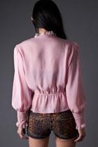 Pink Dusty Rose Lace Telltale Hearts Vintage Blouses