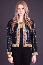 Vintage Jewel Trimmed Sequin Jacket in Black